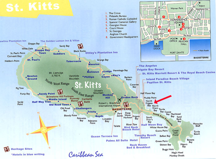 St Kitts, West Indies, Rental Property, Map